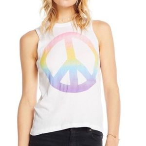 Chaser   Tie Dye Peace Sign Graphic Tank Top